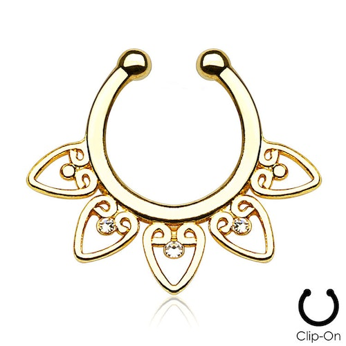 Septum fake / septum hanger - guldpläterad tribal med crystals
