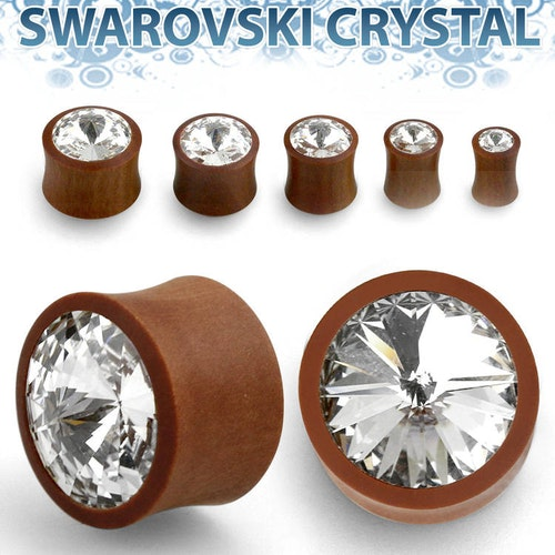 Träplugg sawo wood med crystal