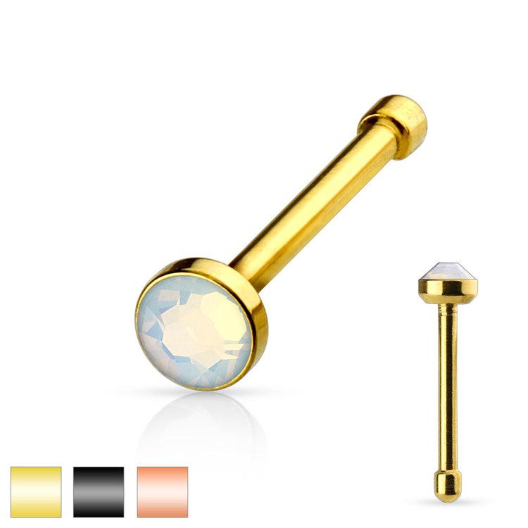 """Näspin """"nose bone"""" 0.8mm PVD-pläterad med vit opalit"""