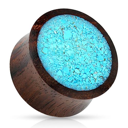 Träplugg med turkosa stenkross