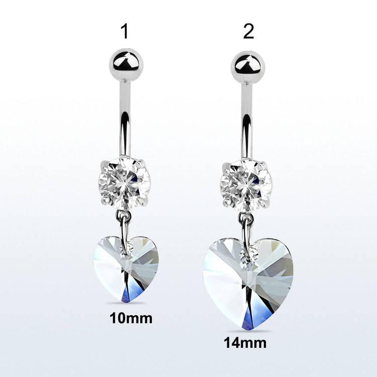 Navelsmycke med cubic zirconia och hjärtformad crystal