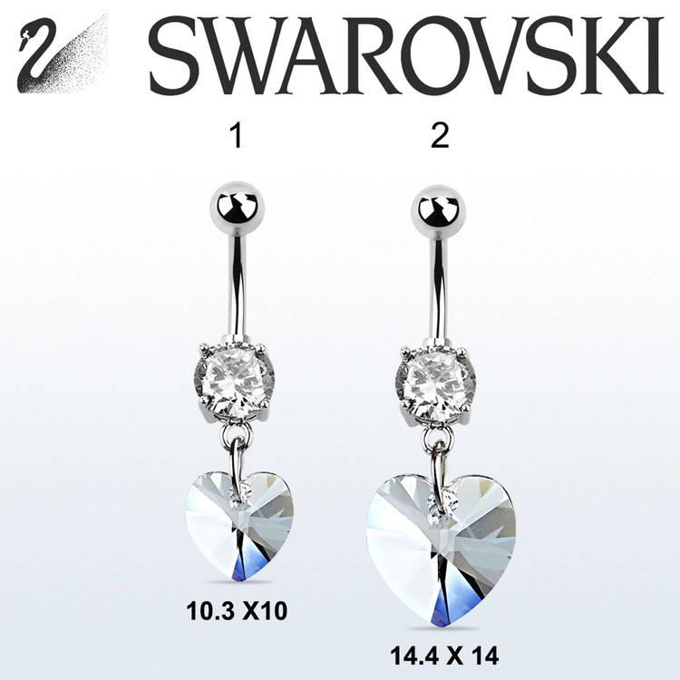 Navelsmycke med hjärtformad Swarovski crystal