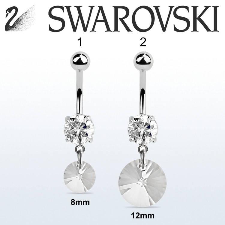 Navelsmycke med rund Swarovski crystal