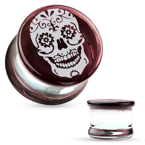 Pyrex glasplugg med dödskalle
