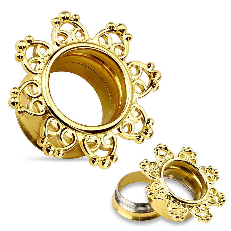 Ståltunnel - guldpläterad med tribalhjärtan
