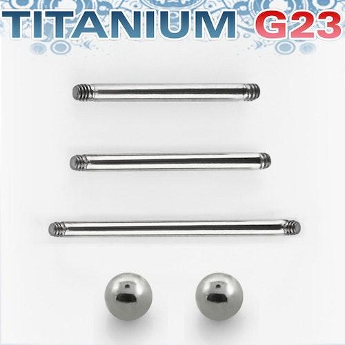 Titanium barbell 1.6mm läksmycke för bröstvårta och tungpiercing