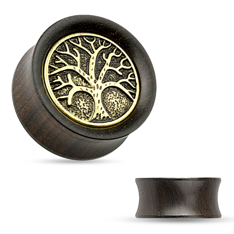 "Ebony wood plugg med ""Tree of Life"""