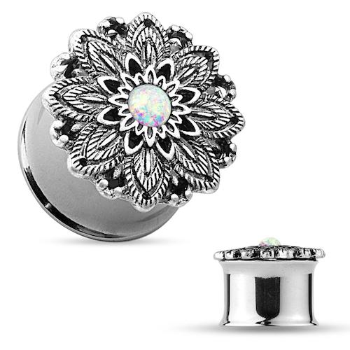 """Stålplugg """"antik silver"""" lotusblomma med vit opalit"""
