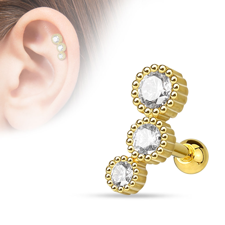 Tragus / helix barbell med 3 CZ crystals