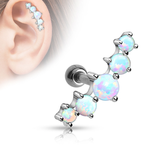 Tragus / helix barbell med 5 opaliter