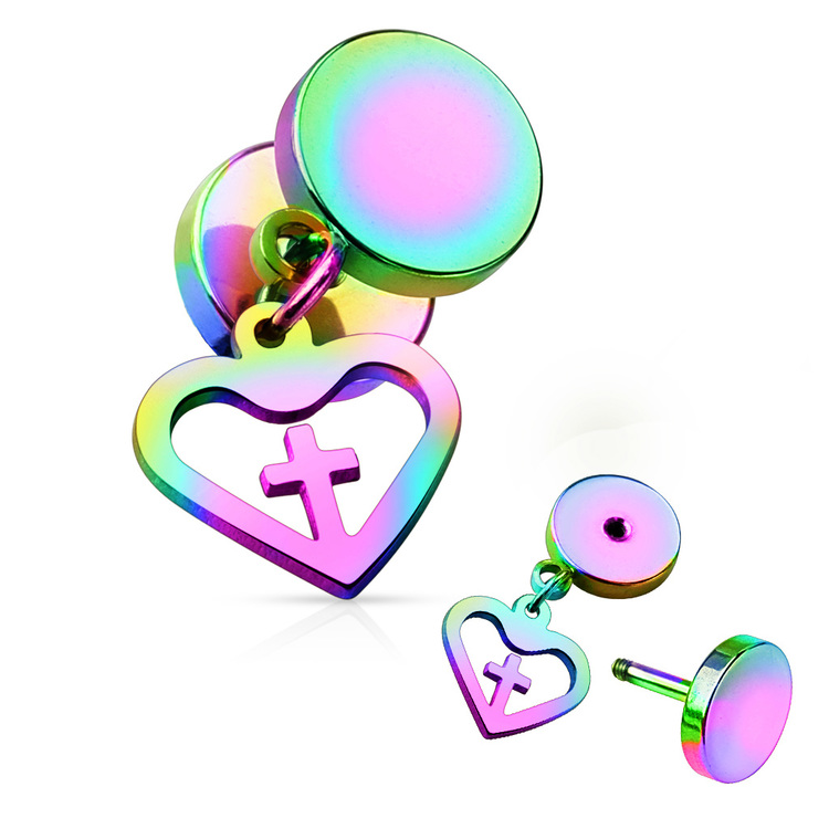 Fakeplugg med hänge - Hjärta/Kors