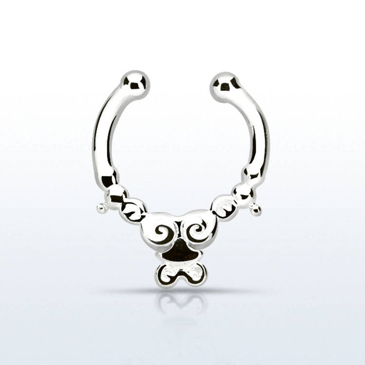 Fake septum / septum hanger i 925-silver - Indian Design