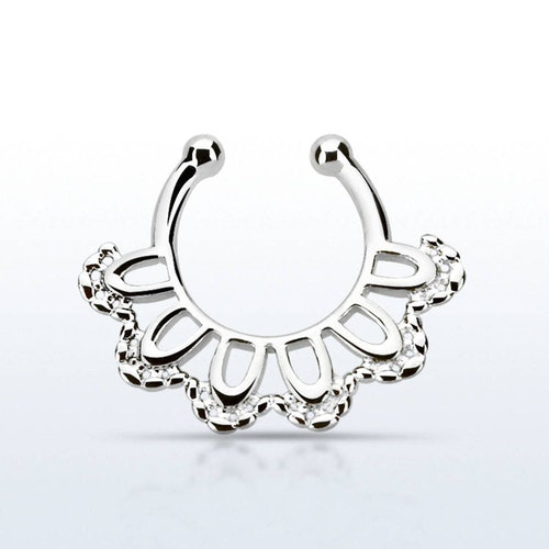 Fake septum / septum hanger i 925-silver - Indian Leaf Design