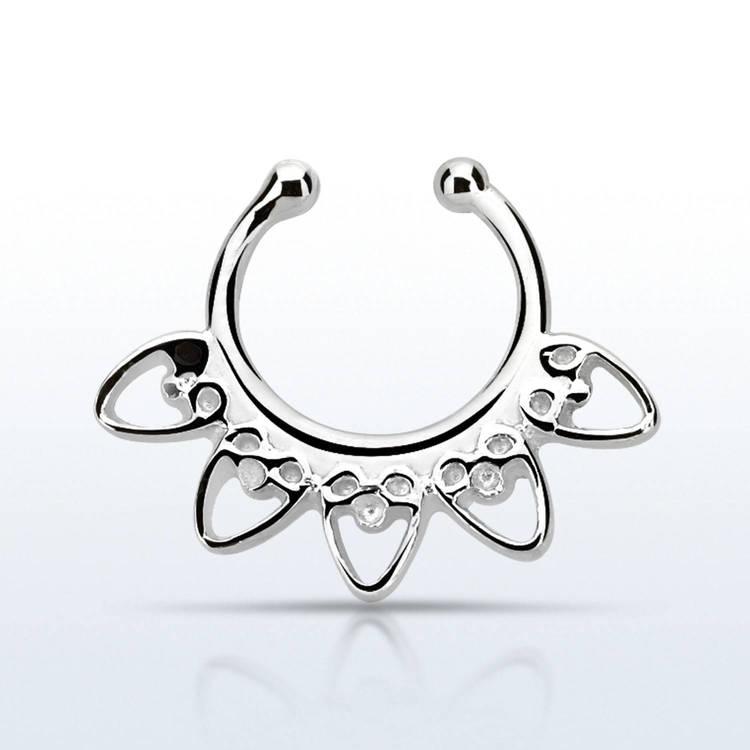 Fake septum / septum hanger i 925-silver - Indian Heart Design