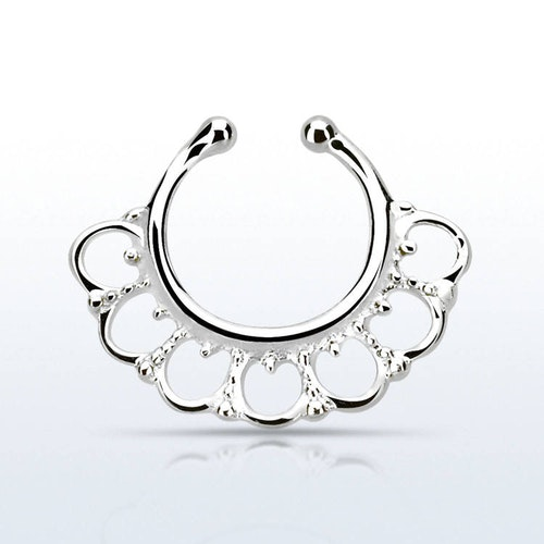 Fake septum / septum hanger i 925-silver - Wide Indian Design