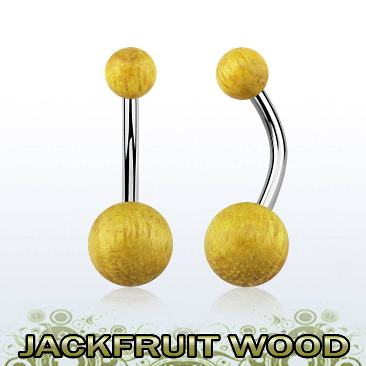 Navelsmycke med Jackfruit Wood träkulor
