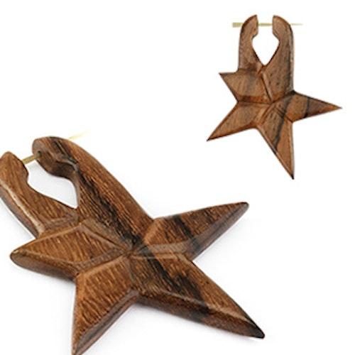 Handgjort örhänge i sono wood - Stjärna (par)