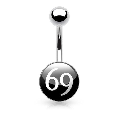 """Navelsmycke 1.6mm med logo - """"69 logo"""""""