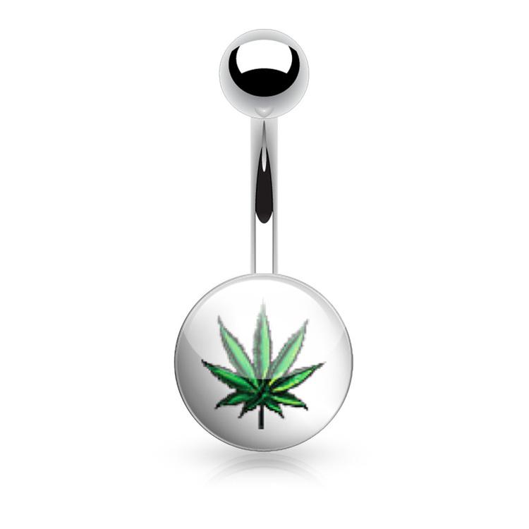 """Navelsmycke 1.6mm med logo - """"Marijuanablad"""""""