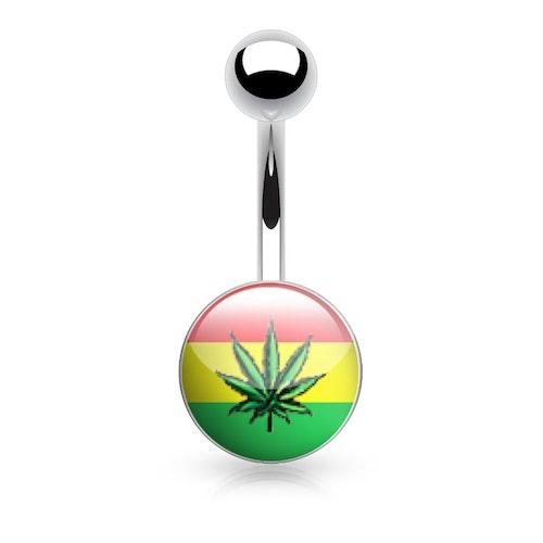 """Navelsmycke 1.6mm med logo - """"Rasta Marijuanablad"""""""