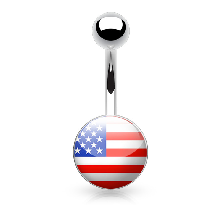 "Navelsmycke 1.6mm med logo - ""U.S. Flag"""