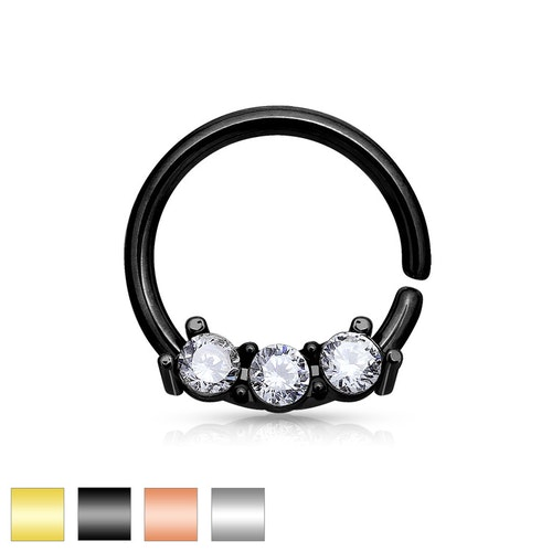 Septum hoop - 1mm septum ring med crystal