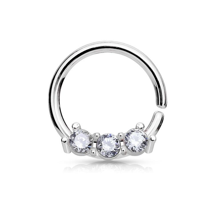 Septum hoop - 1mm septum ring med crystal