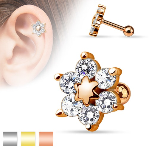 Helix / Tragus barbell - 6 CZ Blomma