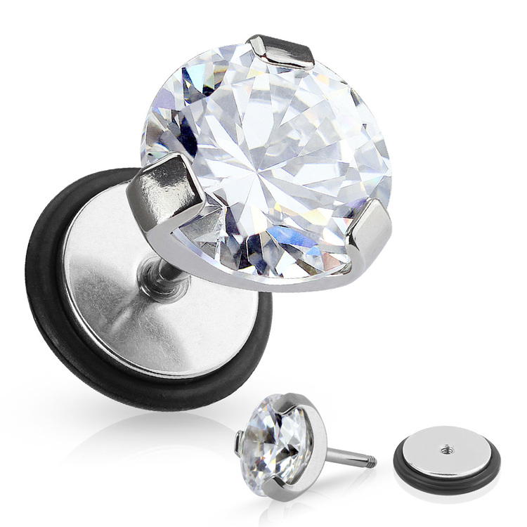 """Fakeplugg med """"prong-set"""" Cubic Zirconia"""