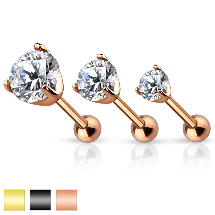 Tragus / helix Barbell - Prong-set Crystal