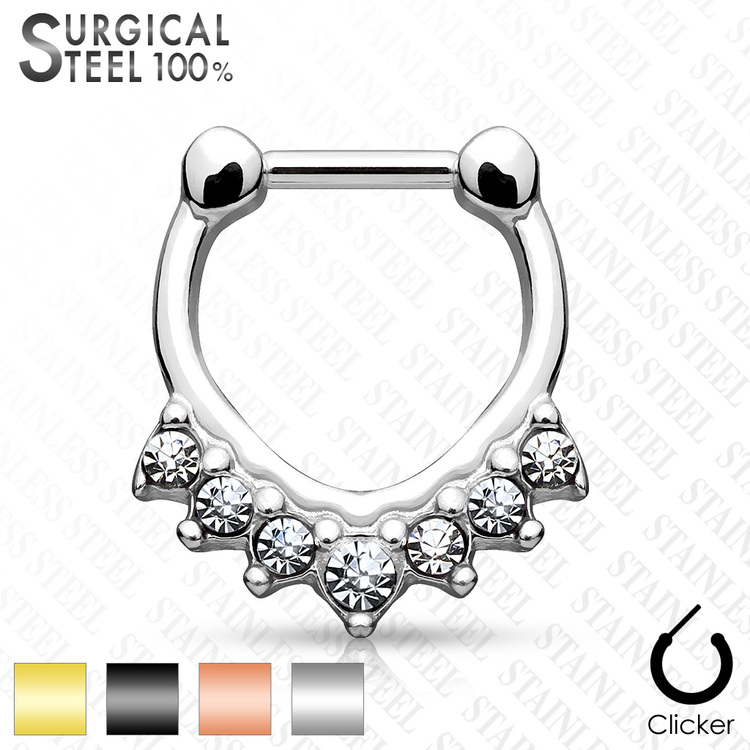 Septum clicker 1.2mm med 7 klara stenar