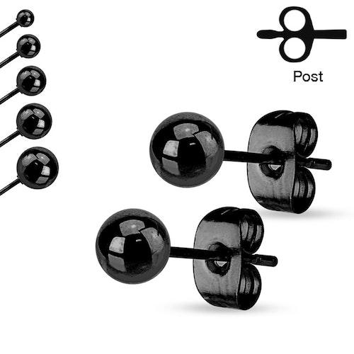Svarteloxerad örhänge i stål - Boll (Par)