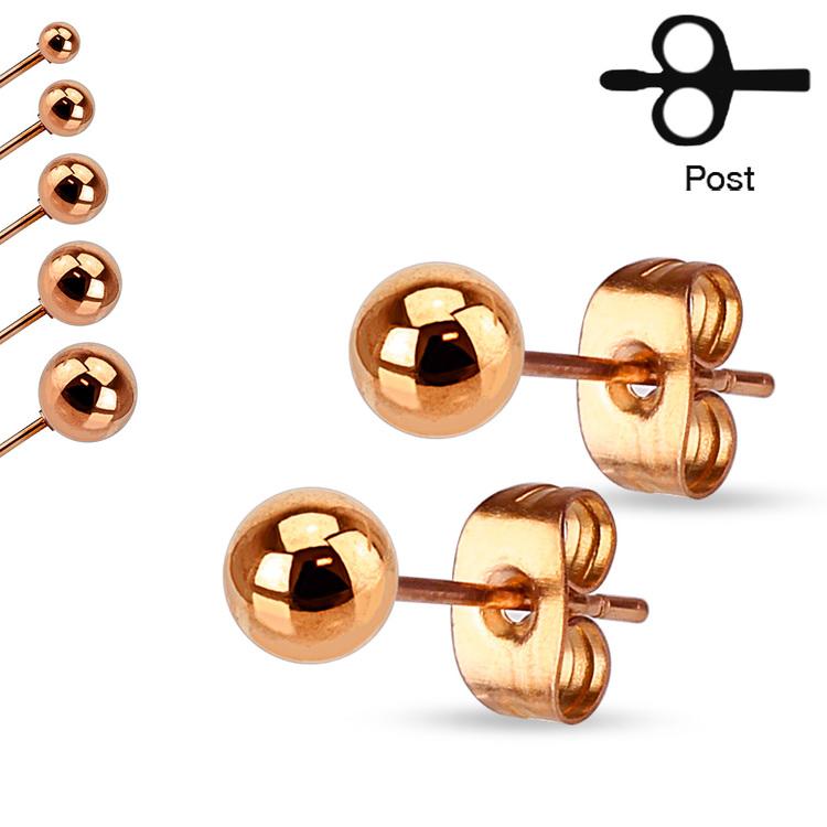 Roséguldpläterat örhänge i stål - Boll (Par)