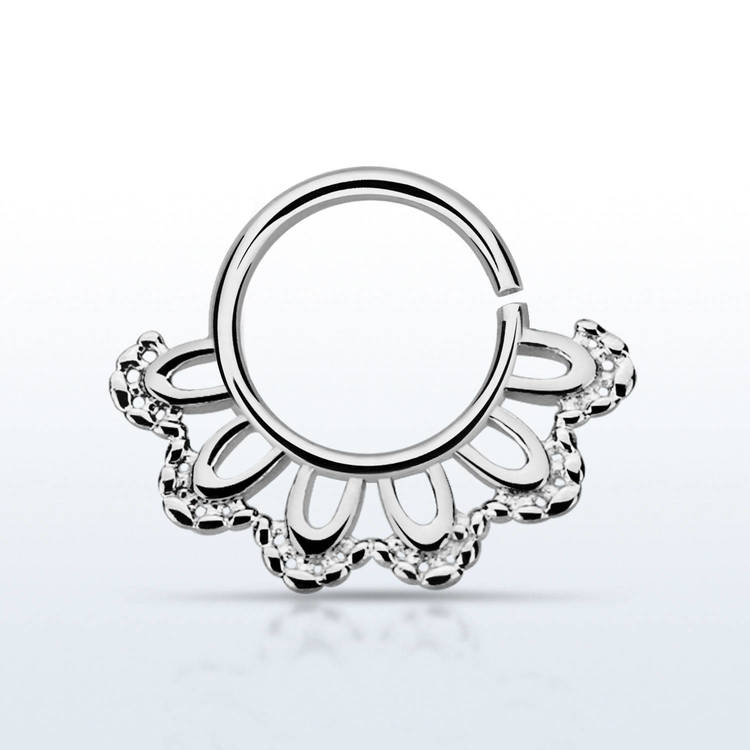 Septum piercing i 925 silver - Indian Leaf Design