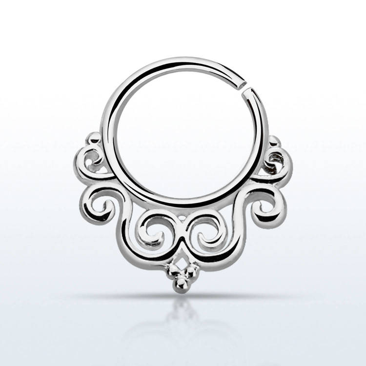 Septum piercing i 925 silver - Decorated Indian Design