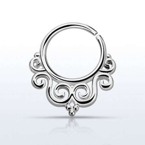 Septum piercing i 925 silver - Decorated Indian Design