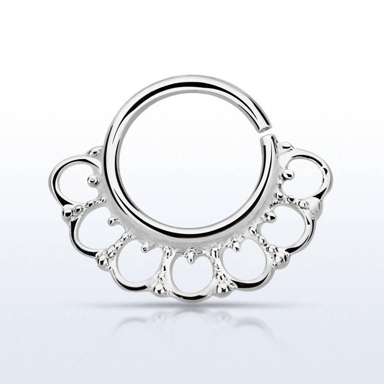 Septum piercing i 925 silver - Wide Indian Design