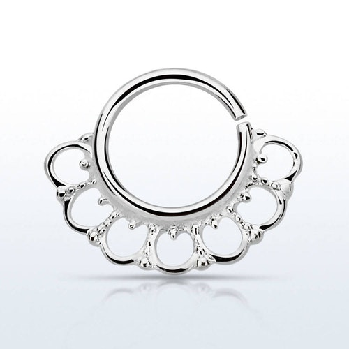 Septum piercing i 925 silver - Wide Indian Design