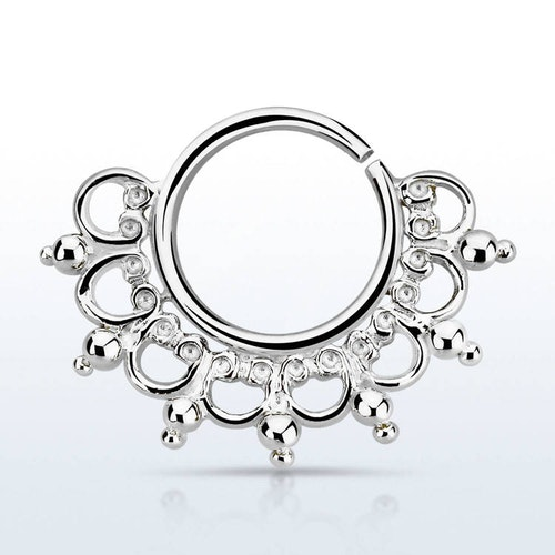 Septum piercing i 925 silver - Wide Engraved Design