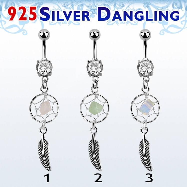 Navelsmycke med drömfångare i 925 Silver