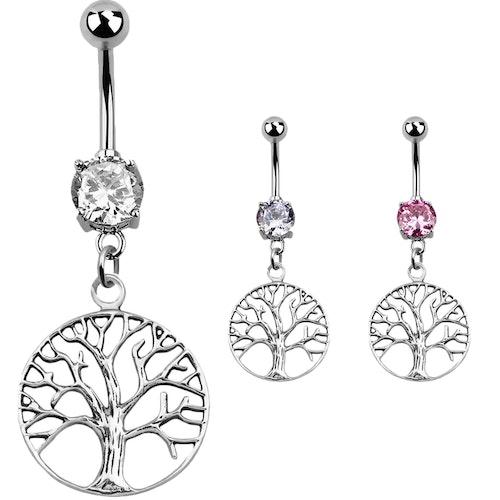 Navelsmycke med Tree of Life i 925 Silver