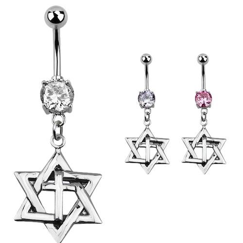 Navelsmycke med stjärna med kors i 925 Silver