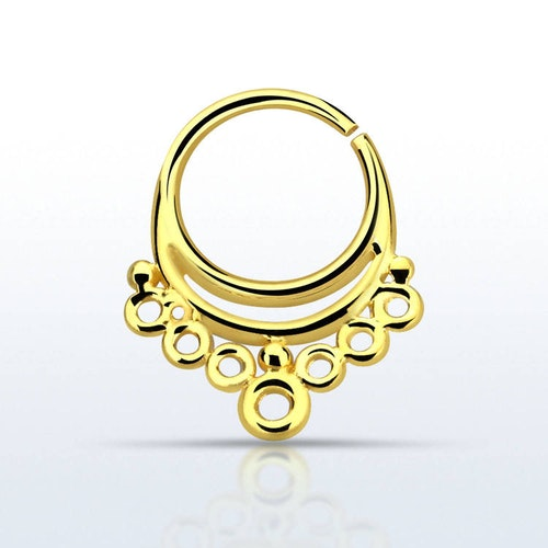 Septum piercing i guldpläterad 925 silver - Indian Design