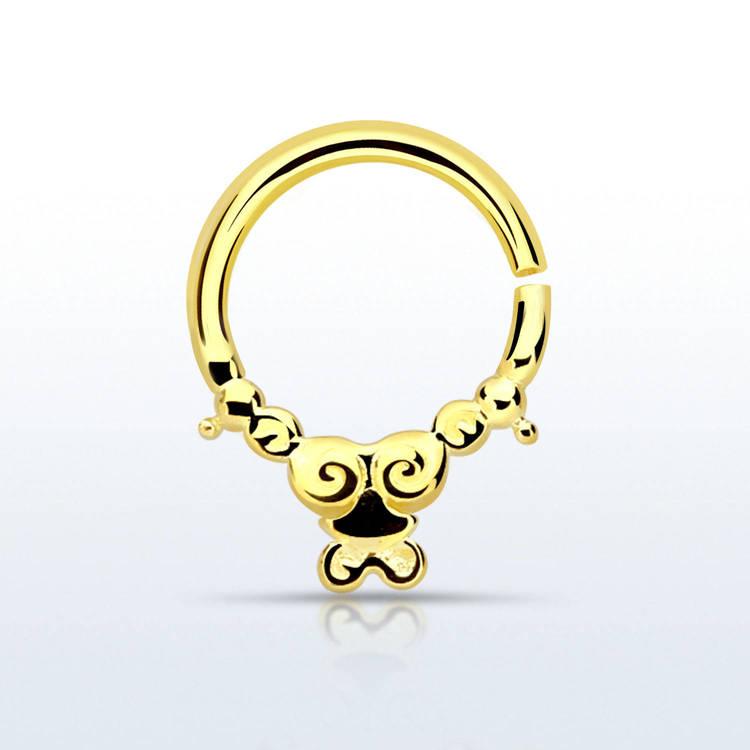 Septum piercing i guldpläterad 925 silver - Silver Indian Design