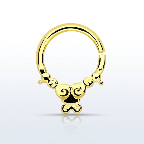 Septum piercing i guldpläterad 925 silver - Silver Indian Design