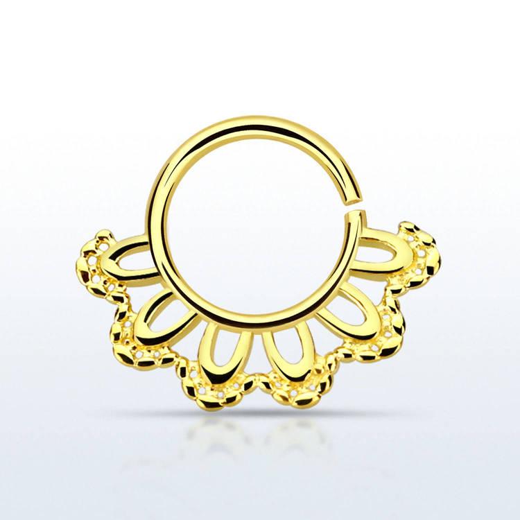Septum piercing i guldpläterad 925 silver - Indian Leaf Design