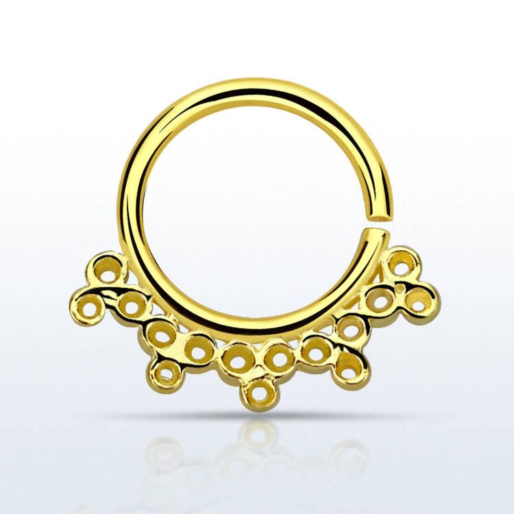 Septum piercing i guldpläterad 925 silver - Indian Design