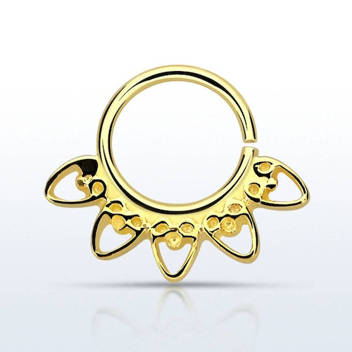 Septum piercing i guldpläterad 925 silver - Indian Heart Design