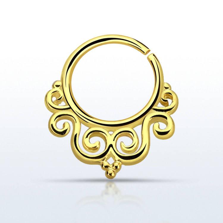Septum piercing i guldpläterad 925 silver - Decorated Indian Design