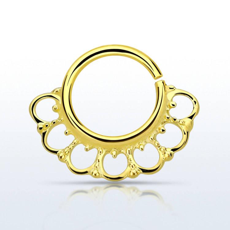 Septum piercing i guldpläterad 925 silver - Wide Indian Design